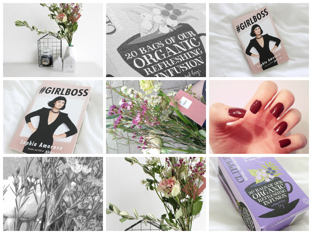 thoughts lately, favorieten, oktober, essie recessionista, herfst nagellak, #girlboss, boek, bloemen, mooie bos, rozen, clipper thee, clipper blackcurrant, acai, flying tiger huisje, yankee candle blueberry, xenos, beton huisje, lichte fotos, design