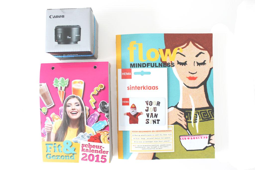 sinterklaas cadeautjes, flow mindfulness boek, mindfulness special, scheurkalender 2015, canon 50 mm lens, hema cadeaukaart, gekregen voor sinterklaas, sinterklaascadeautjes