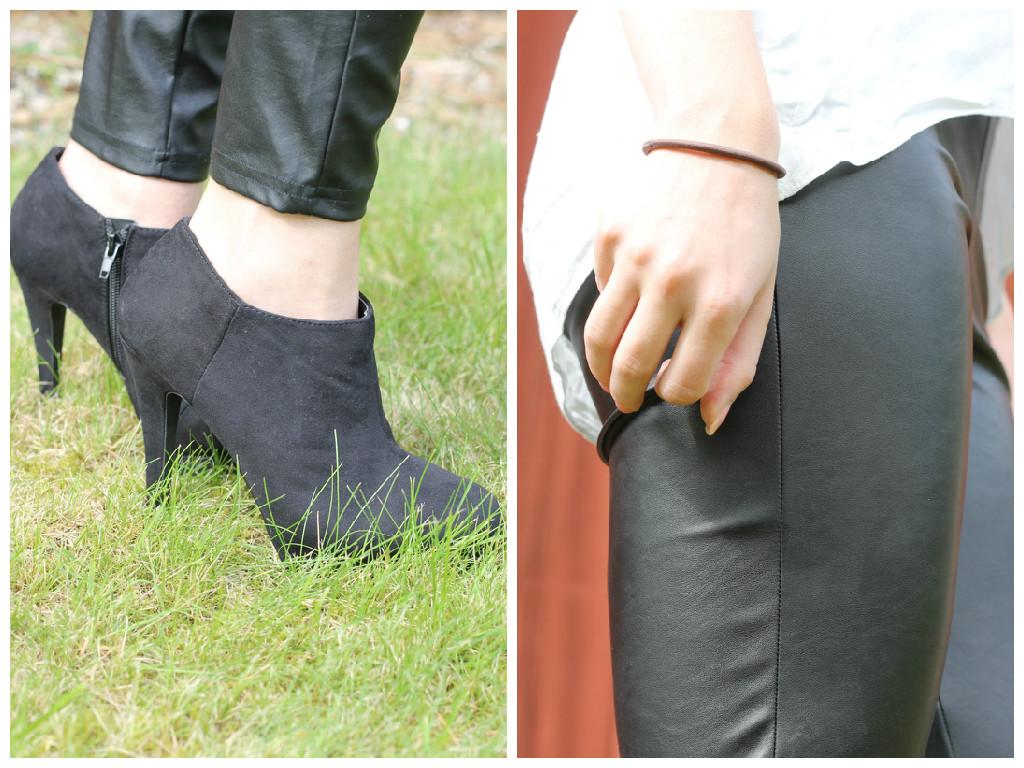 details outfit, leren broek abercrombie, haarelastiek, zwarte enkellaarsjes hak, primark