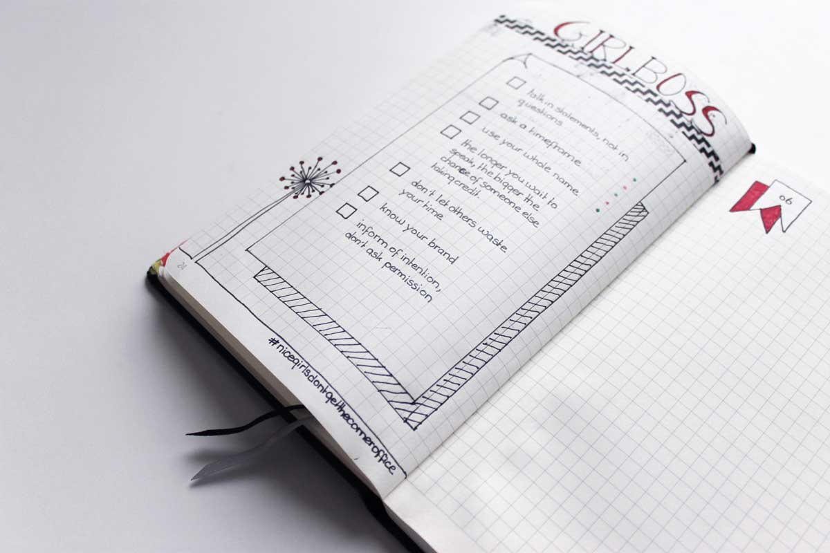 nice girls don't get the corner office bullet journal sheet, bullet journal idea