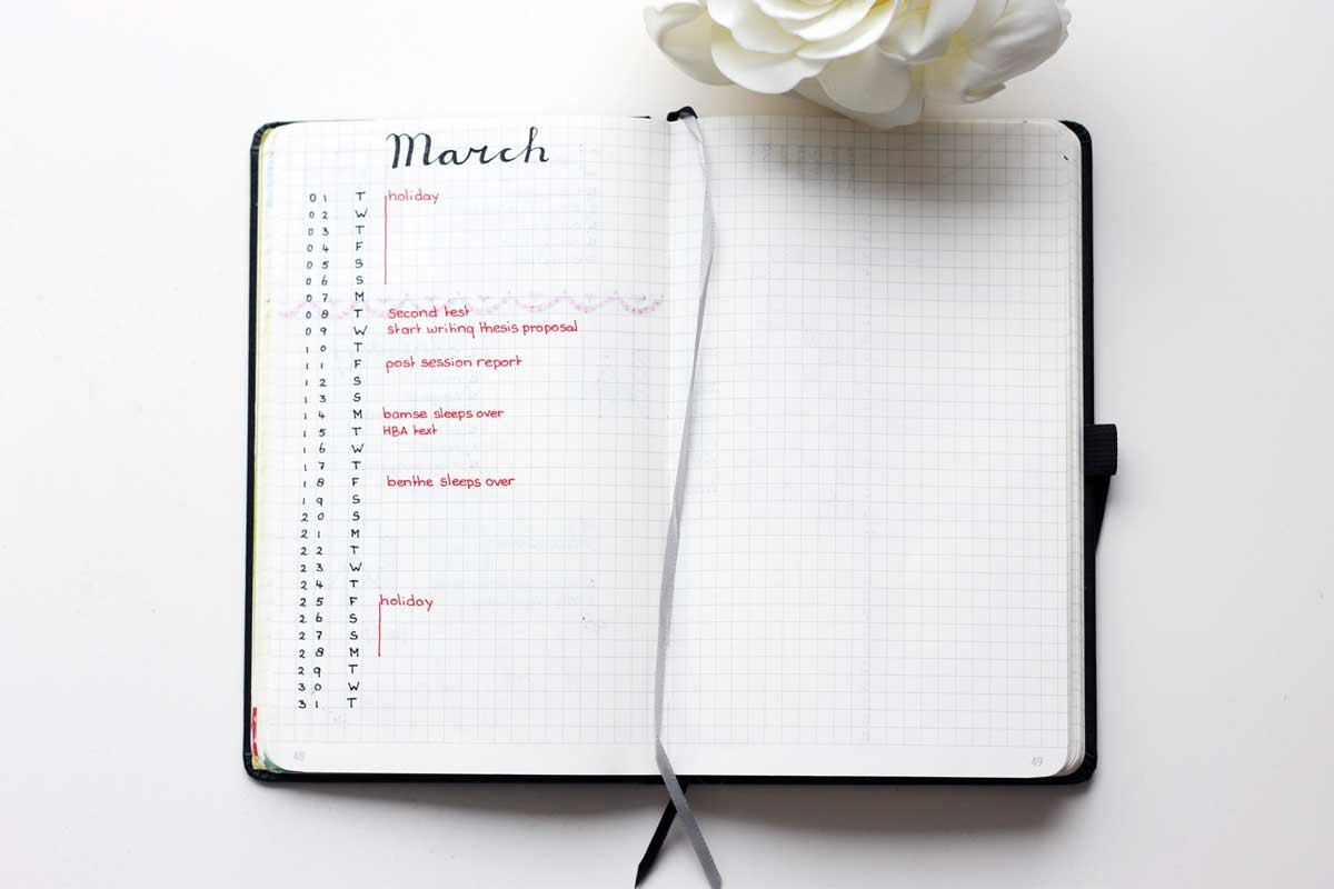 minimalist bullet journal - future log for one month