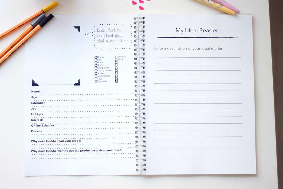business plan maken voor je blog, blogger workbook, blogger werkboek, binnenkant