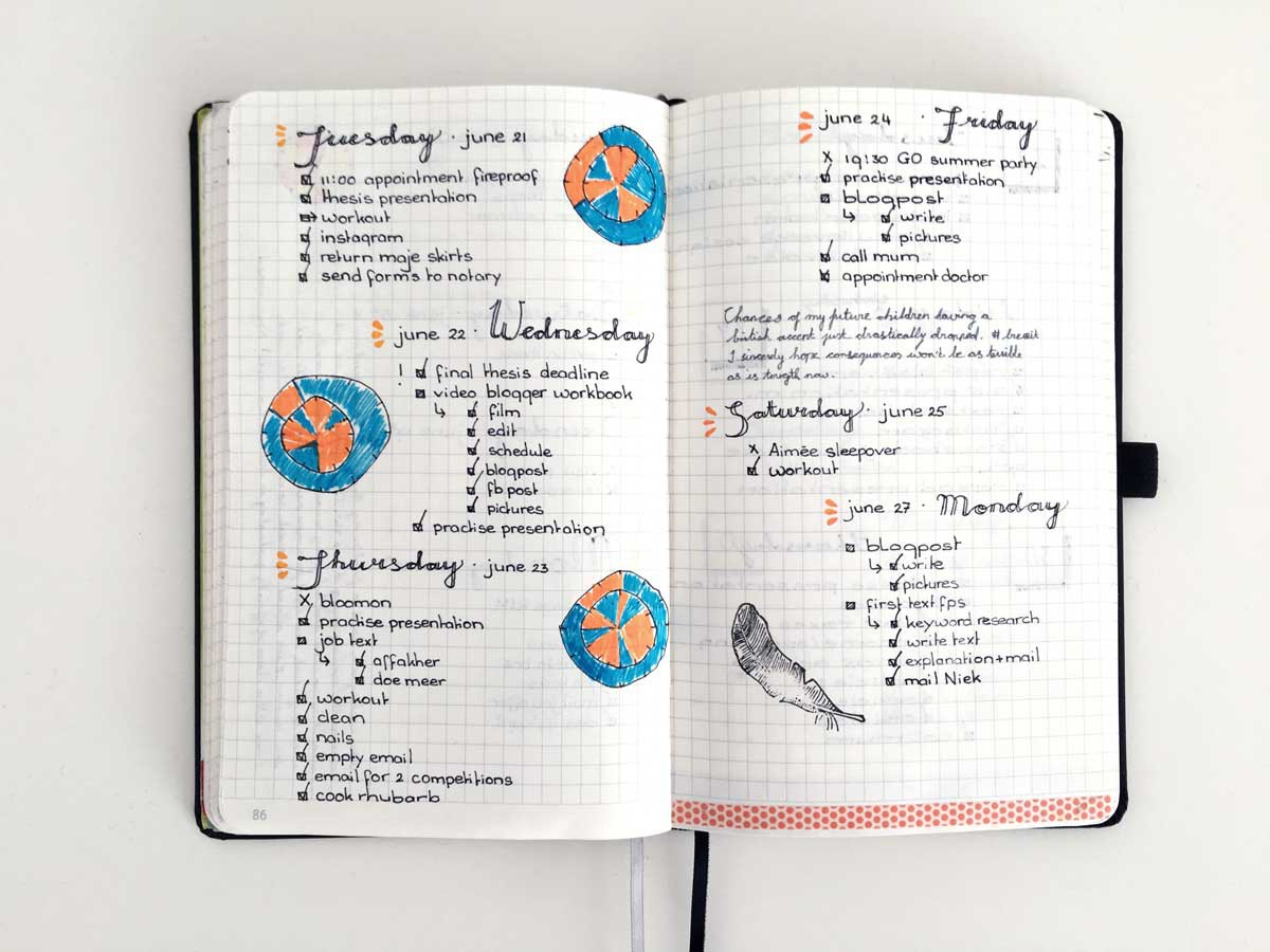 bullet journal daily, inspiration pages, nederland, boekje, time management