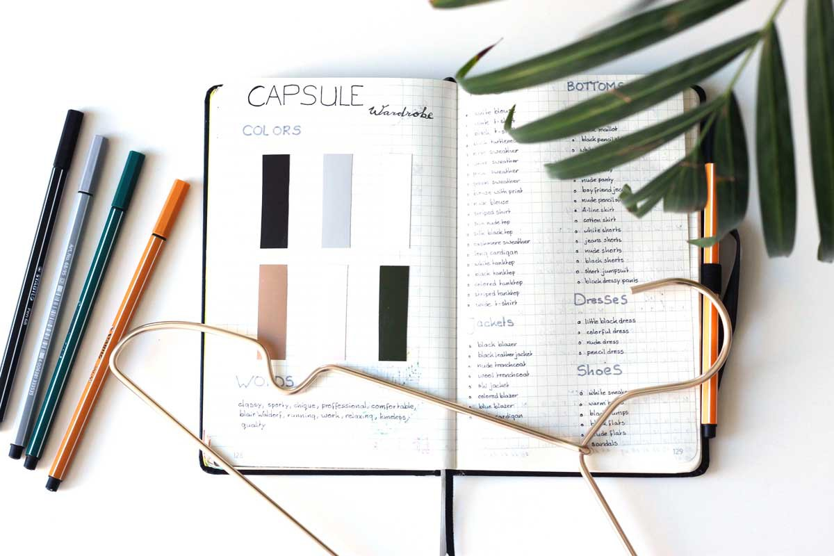 capsule wardrobe, bullet journal, bujo, how to capsule wardrobe, bullet journal tutorial