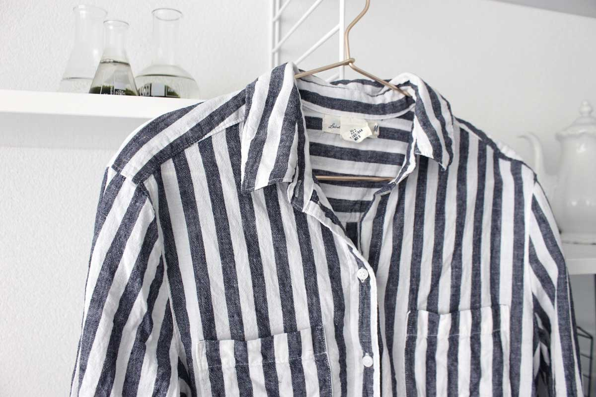capsule wardrobe scandinavaian style, currated closet, hm linnen shirt striped, blouse