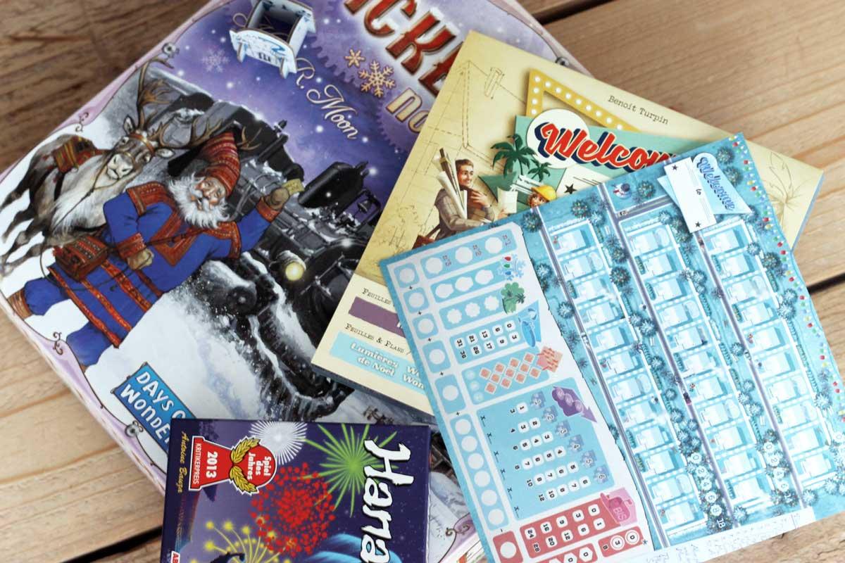 kerst bordspelletjes, ticket to ride nordic countries, welcome to winter wonderland, hanabi