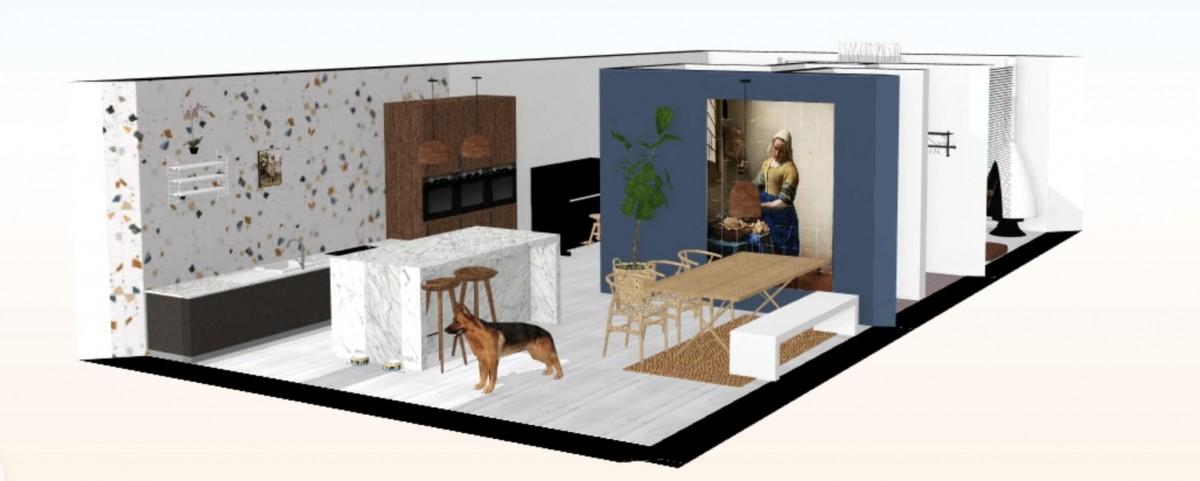 3d tekening nieuwbouw huis, nieuwbouwhuis inspiratie keuken