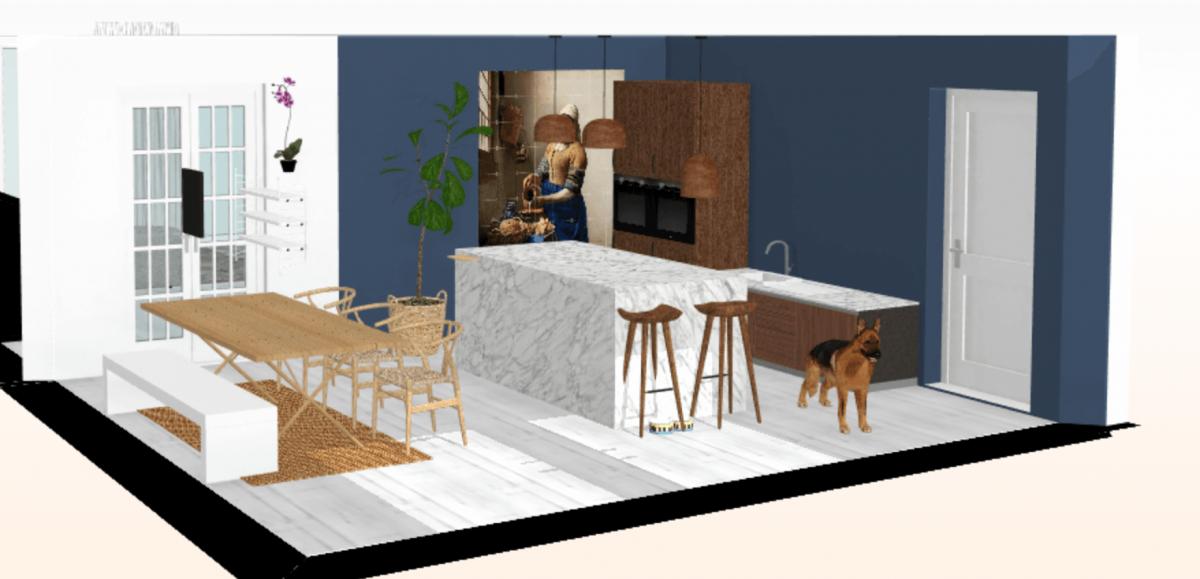 3d tekening nieuwbouw huis, nieuwbouwhuis inspiratie keuken optie 2