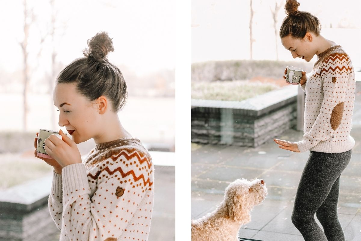 outfits voor thuiswerken, noorse trui fjällräven, nordic style outfit, slow living
